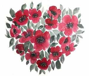 Peinture à l'aquarelle d'un bouquet d'anémones rougesen forme de coeur par l'artiste peintre Virginie Brassart, illustrant un article sur une démonstration de peinture et sur la Saint-Valentin