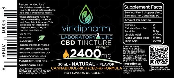 Natural Flavor CBD Tincture 2400mg