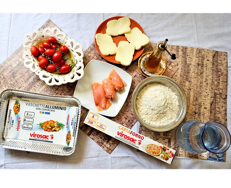 torta rustica con pasta fatta in casa salmone pomodorini e provola affumicata ricetta preparazione ingredienti virosac magazine cosa serve