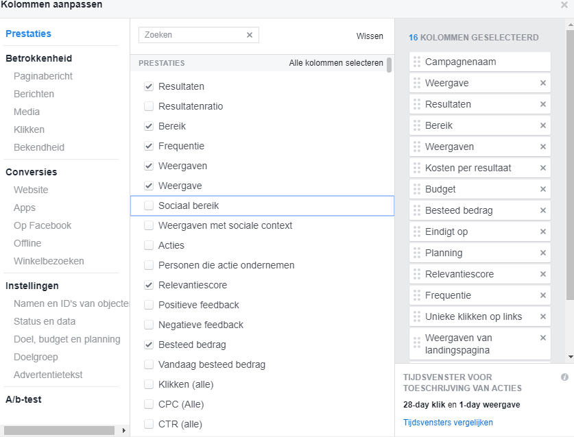 kolommen aanpassen facebook advertenties
