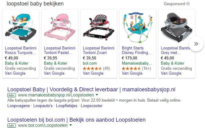 Google Shopping baby looptstoel