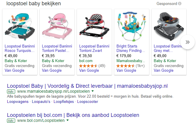 Google Shopping advertenties uitbesteden baby loopstoel