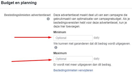 Bestedingslimiet Facebook ads