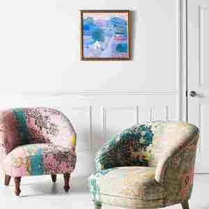 rug printed chair anthropologie green pink boho berber chair