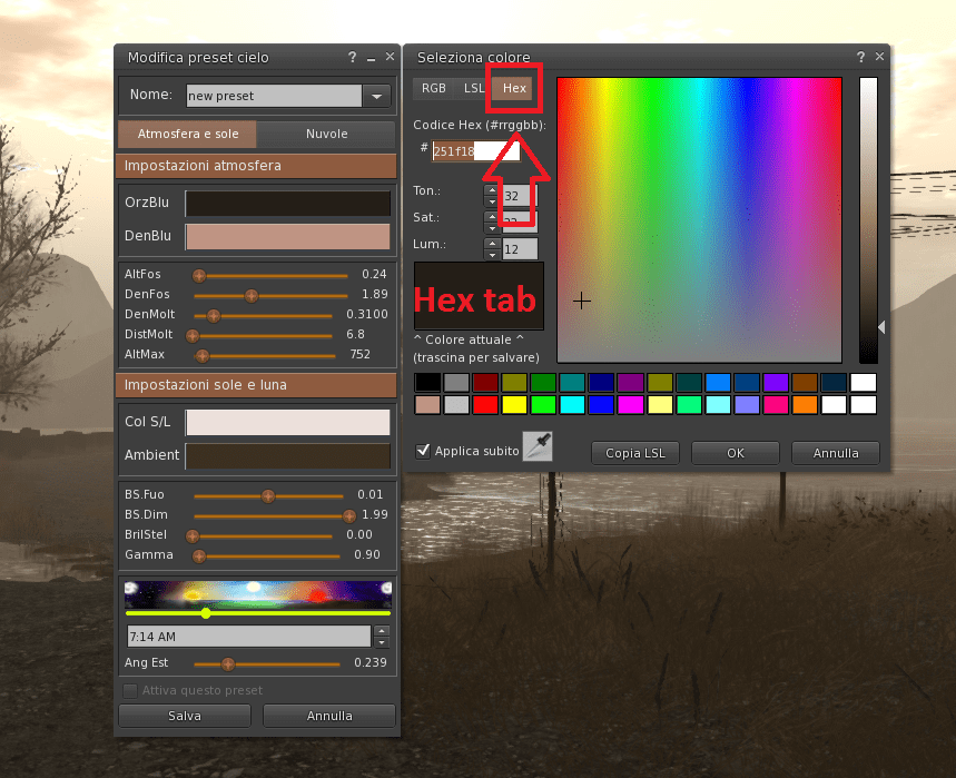 How to create your custom windlight settings starting from a photo