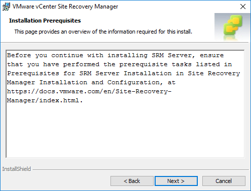 Review-the-prerequisites-for-installing-Site-Recovery-Manager Installing VMware vCenter Site Recovery Manager SRM 8.1