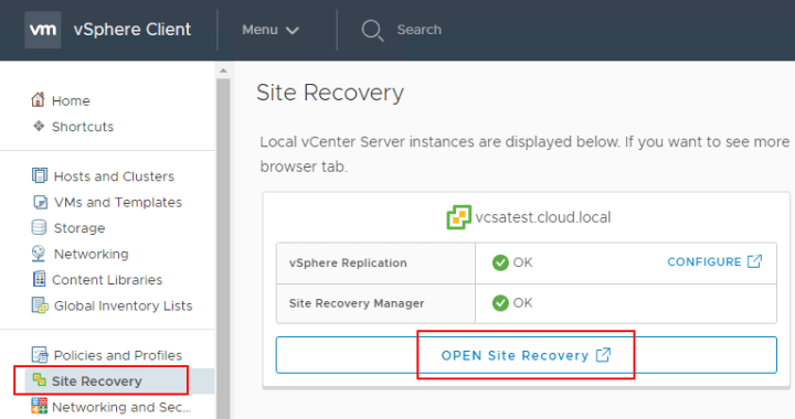 VMware Site Recovery Manager 8.1 Creating and Managing Site Pairs ...