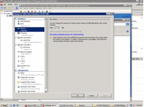 microsoft windows 2008 hyper-v manager memory setting
