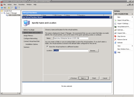 ms windows 2008 hyper-v manager vm specify name and location