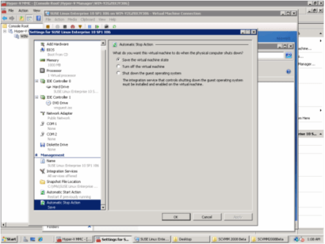 windows 2008 hyper-v manager vm automatic stop action