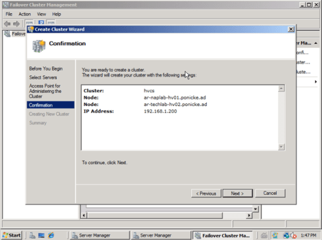 windows 2008 cluster configuraiton confirmation window