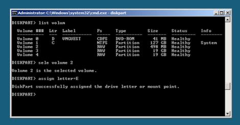 Windows 2008 Server Core assign partition letters