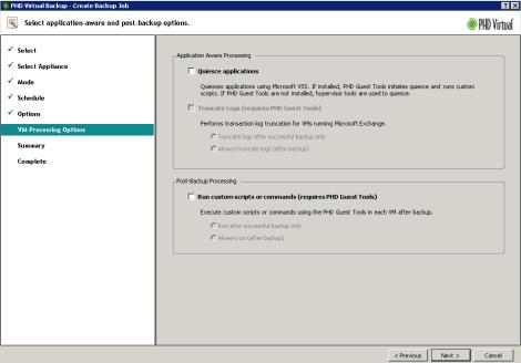 PHD Virtual Backup Application Aware backup