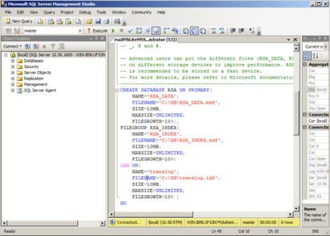Execute the script to create the RSA DB for the SSO Service