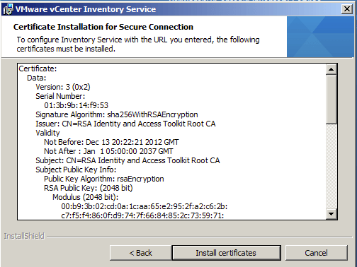 Certificate Installation for Secure Inventory Service Connection