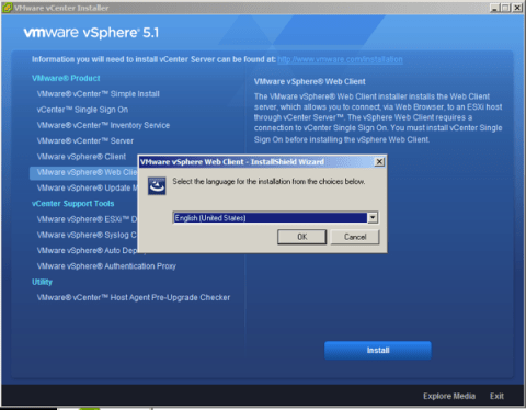 Choose vSphere Web Client Installation Language