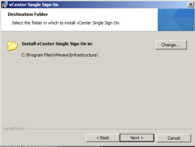 Choose the vCenter Single Sign On Installation Path