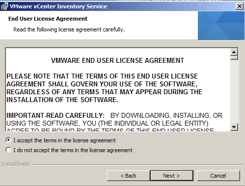 vCenter Inventory Service Accept the License Agreement