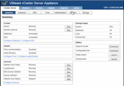 VMware vCenter Appliance Services