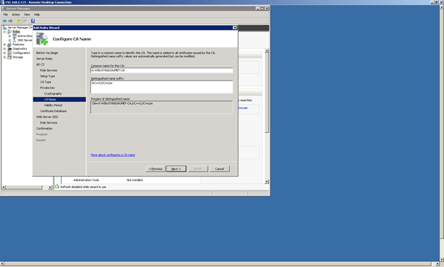 Configure your Certificate Authority Name