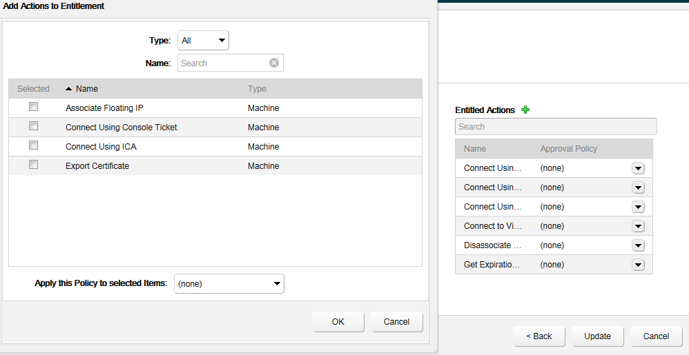 vCAC 6 missing Catalog Entitlement Actions