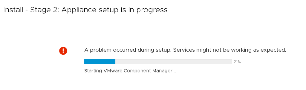 vCenter Server Fails upon first reboot