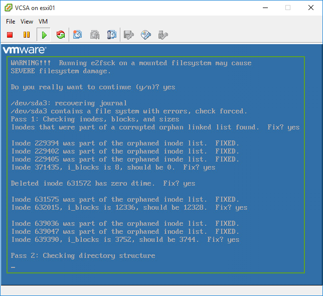 VCSA Activating swap-devices in /etc/fstab   failed