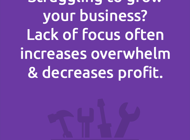 Struggling to growyour business?Lack of focus often increases overwhelm& decreases profit.