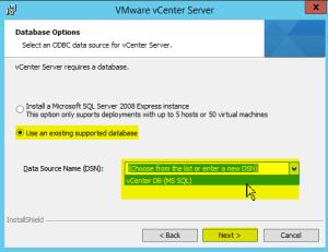 37 vCenterServer ODBC Selection