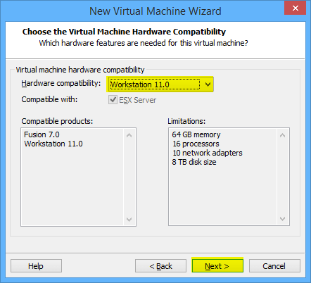 8 New VM HW Compatibility