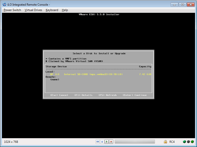 ESXi Install - SD Card Ready for Installation