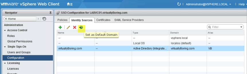 10 VCSA 6 - Set as Default Domain