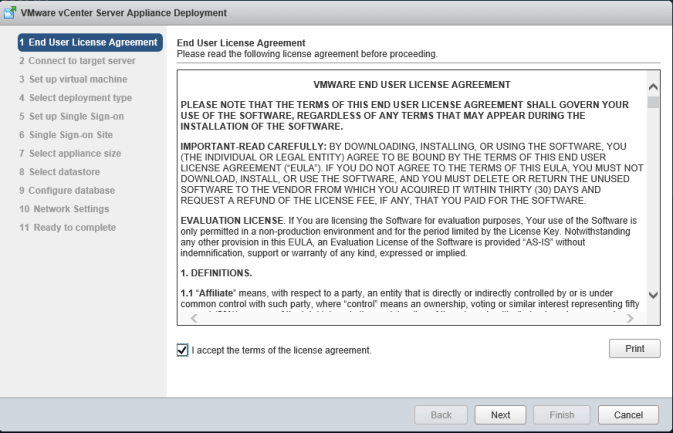 2 vCSA Install - License Agreement
