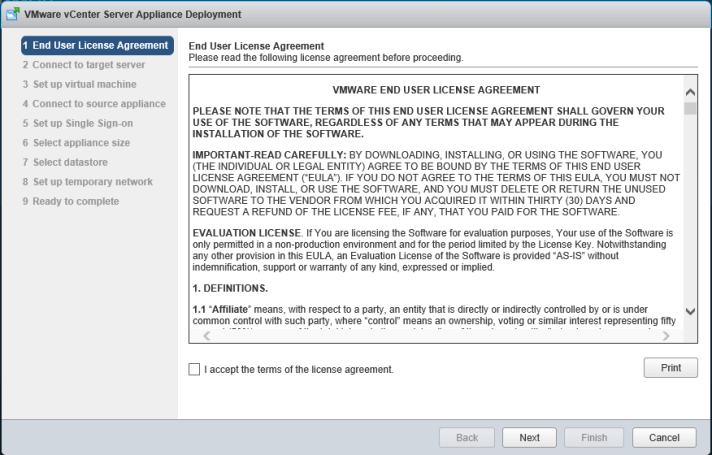 3 vCSA Upgrade - License Agreement