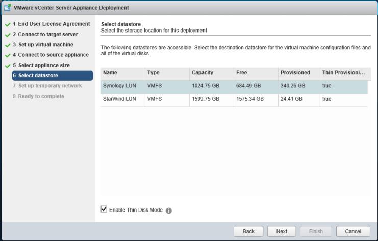 9 vCSA Upgrade - Select Datastore