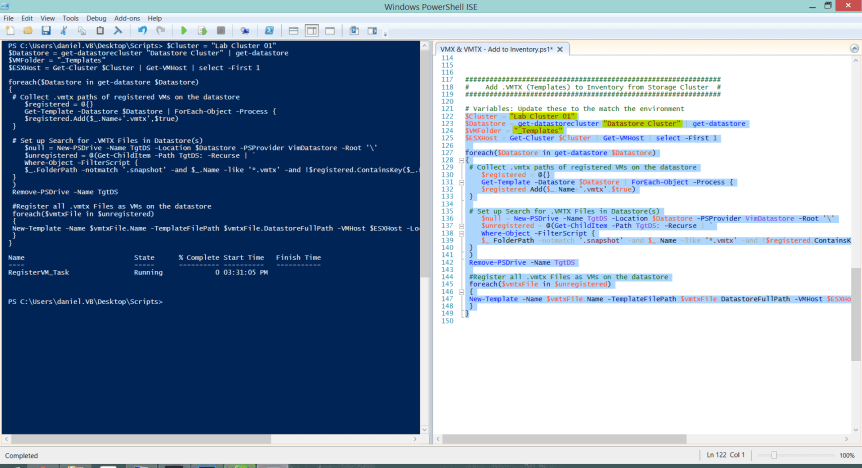VMTX Powershell Script - Ran from ICE for Storage Cluster