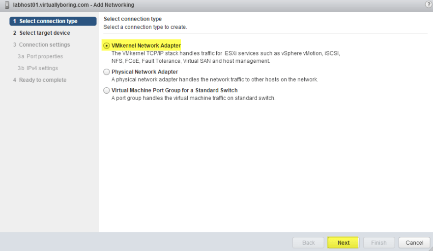 3 VSAN - Select VMkernel Network Adapter