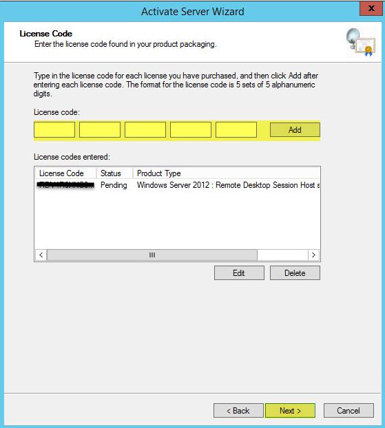 21 License Server - Enter License Code