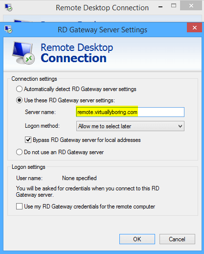 RD Gateway 3 - Gateway Server Settings