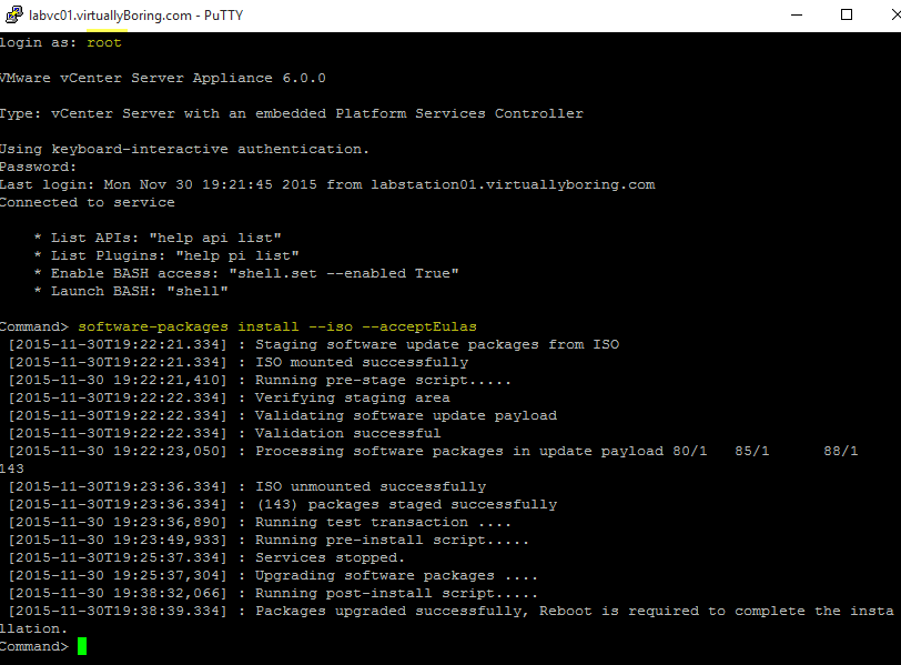 VCSA Upgrade 5 - software-packages commands