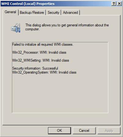 Microsoft WMI – Invalid Class Error [0x80041010