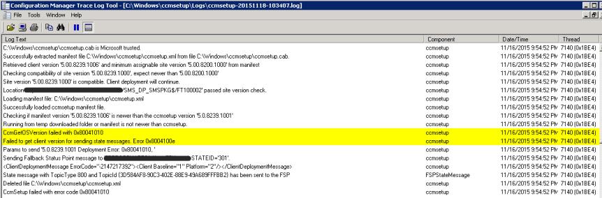 WMI - Configuration Manager Trace Log Error