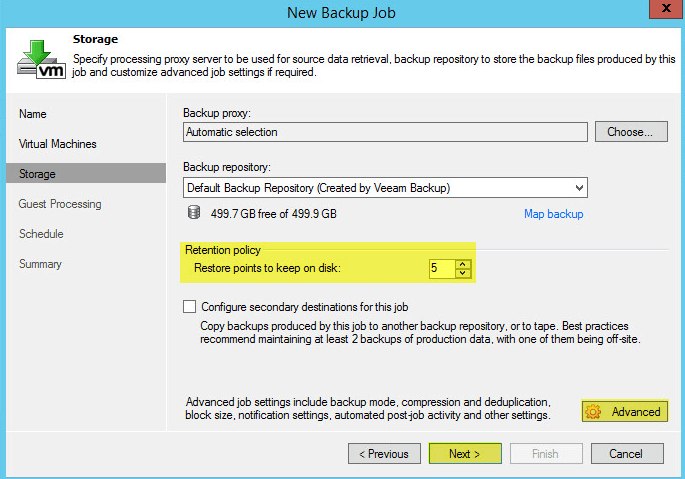 Veeam Backup 19 - Backup Job Storage