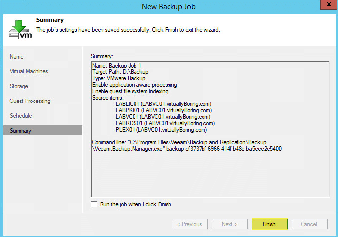Veeam Backup 21 - Backup Job Summary