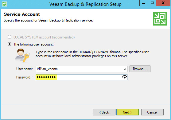 Veeam Backup 7 - Service Account