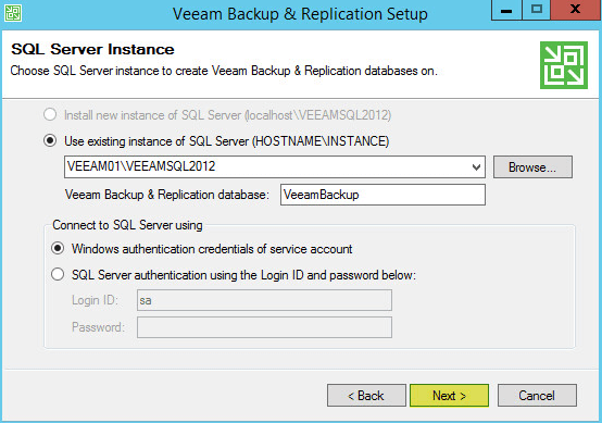 Veeam Backup 8 - SQL Server Instance