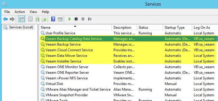 Veeam Backup - Stop Services