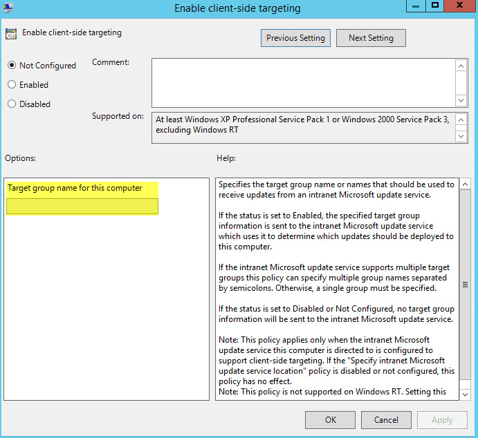 WSUS Computer Group 4-2 - Group Policy for Computer Groups