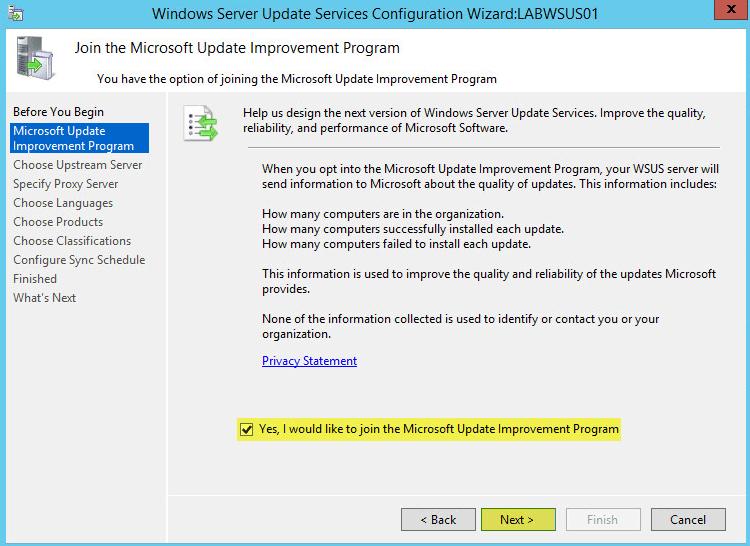WSUS Config 3 - Microsoft Update Improvement Program