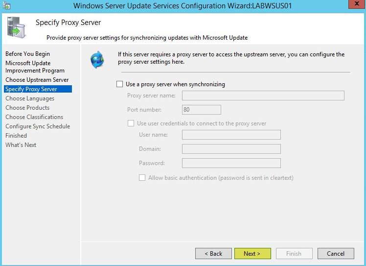 WSUS Config 5 - Specify Proxy Server
